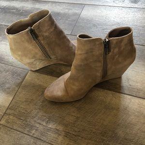 Jessica Simpson tan suede wedge side zip booties